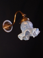 Genuine bronze wall light with genuine opal glass