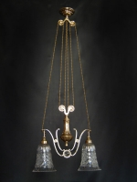 Ceiling two-lamp light with counterweight and crystals