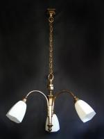 Τρίφωτο φωτιστικό Art Deco με λευκές οπαλίνες