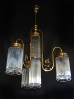 Four-lamp light Art Deco with small crystals