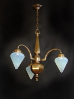 Three-lamp light Art Deco with white opal glasses