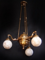 Three-lamp ceiling light with white sculptured opal glasses