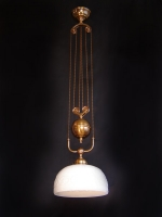 Ceiling light with sculptured opal glass which can go up/down