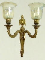 Gold-plated wall light with vaseline glasses