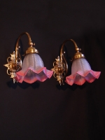 Hand-made bronze wall lights Art Nouveau with pink crystals