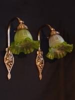 Hand-made bronze wall lights Art Nouveau with cherry patterns