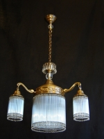Four-lamp ceiling light with small crystals