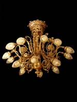 Bronze chandelier with closed crystals